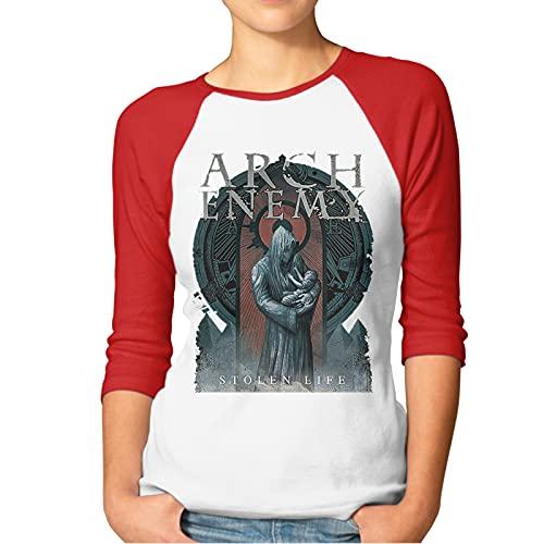 Arch-Enemy War Eternal T Shirt Red XXL Women T-Shirt aus Baumwolle für Damen 3/4 Sleeve Womens Tshirt Rundhalsausschnitt