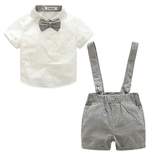 LEHOUR Baby Jungen 2 Stücke Taufe Anzüge Bowtie Shirt Top + Hosenträger Strap Shorts, Formale Kinder Party Outfit Gentleman Kleidung Sets 0-24 M