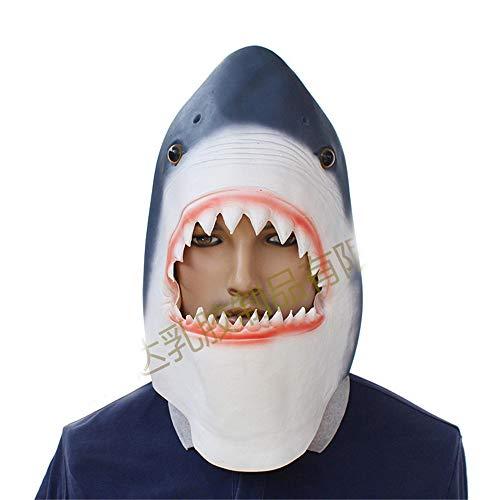 BaronHong Haikopf Cosplay Halloween Party Realistische Latex Kopfbedeckung 3D Maske (Hai, M)