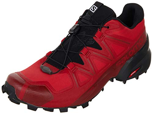 Salomon Men's Speedcross 5 Trail Running, Barbados Cherry/Black/Red Dahlia, 12