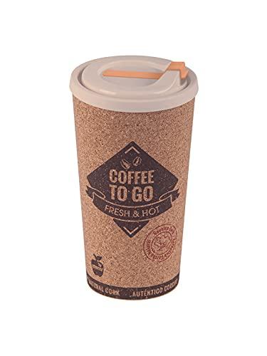 Vaso Termo Café Reutilizable 500 ml Taza Termo Portatil Grande Taza con Tapa para Llevar Eco-Friendly Vaso Café con Tapa con Corcho para Oficina Viaje