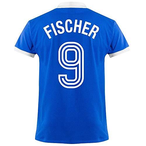 Club Licensed FC Schalke 04 Fischer 9 Retro Trikot 1950's (Retro Flock Beflockung) - S