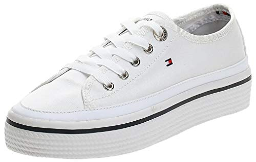 Tommy Hilfiger Corporate Flatform Sneaker, Zapatillas Mujer, Blanco (White 100), 37 EU
