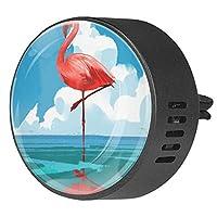 2pcsアロマセラピーディフューザーカーエッセンシャルオイルディフューザーベントクリップフラミンゴ海に立つ