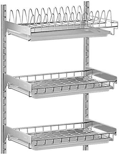 Prateleira de cozinha para pendurar na parede, escorredor de pratos de aço inoxidável 2/3 camadas para armazenamento - 3 camadas para melhorar