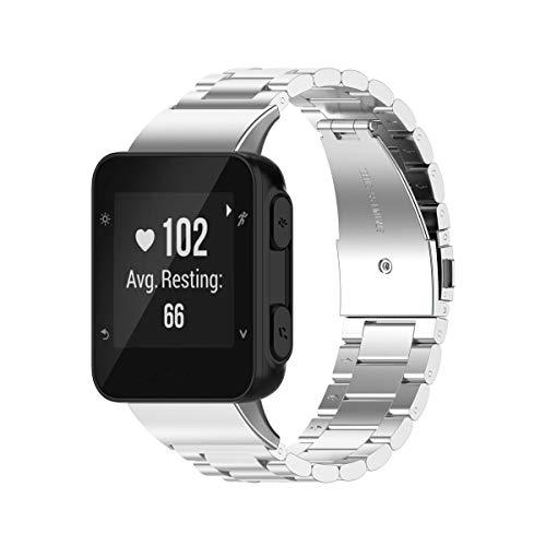 KOMI Correas de reloj compatibles con Garmin Forerunner 35J/35/30/ForeAthlete 35J, correa de repuesto de metal de acero inoxidable (plata)