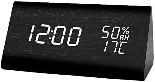 置き時計 置時計 目覚まし時計 温度湿度計 カレンダー おしゃれ デジタル 大きなLED数字表示 木目調 北欧 木製 木目 アラームクロック ウッド シンプル 多機能 音声感知 音感センサー 省エネ USB/乾電池給電 (ブラック)