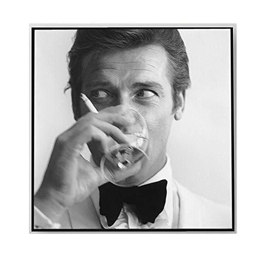 CéLèBre Acteur Roger Moore Mode Affiche Imprimer Noir Blanc Figure Peinture Moderne Toile Tableau Murale Tableaux Pour Vivre Rome Decoration à La Mais
