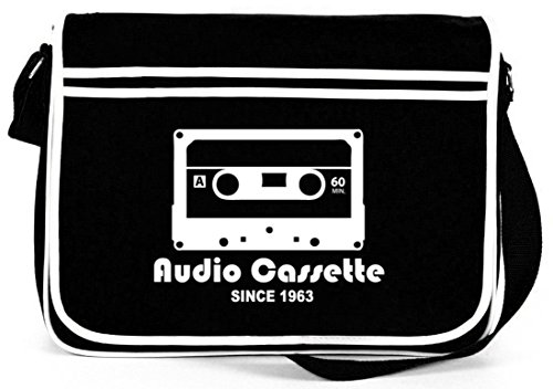 Shirtstreet24, AUDIO CASSETTE, Retro Messenger Bag Kuriertasche Umhängetasche, Größe: onesize,Schwarz