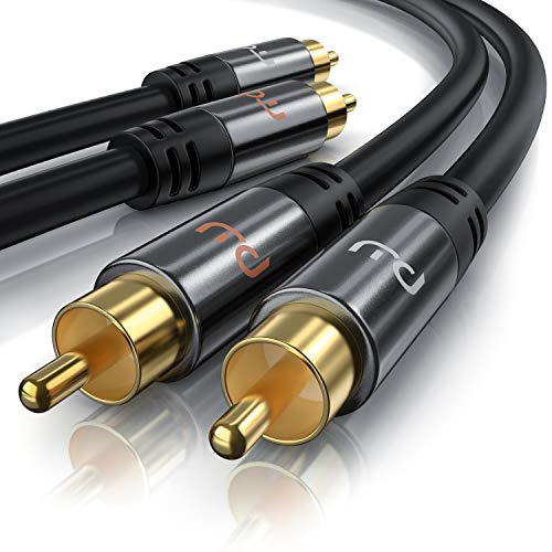 Cinch Audio Kabel - 1m - Aux Eingänge Audio 2X Cinch RCA Stecker zu 2X Cinch RCA Stecker - Metall Stecker - doppelte Schirmung - Koaxialkabel geeignet für Verstärker, Stereoanlangen, HiFi Anlagen