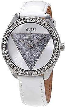 Guess Tri Glitz Quartz Crystal Silver Dial White Leather Ladies Watch