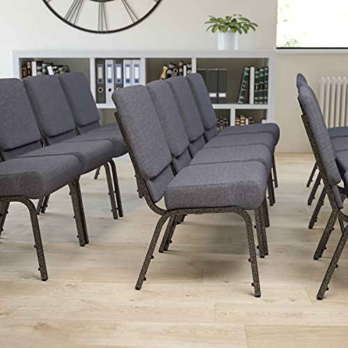 Flash Furniture 4 Pack HERCULES Series 21''W Church Chair in Dark Gray Fabric - Silver Vein Frame