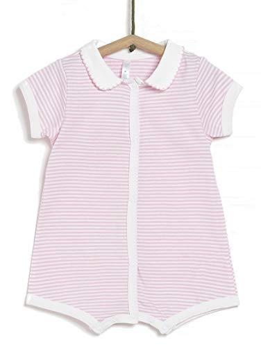 TEX - Pijama de Rayas para Recién Nacido Unisex, Rosa Matiz, 00 a 0 Meses (Prematuro - 46 cm)