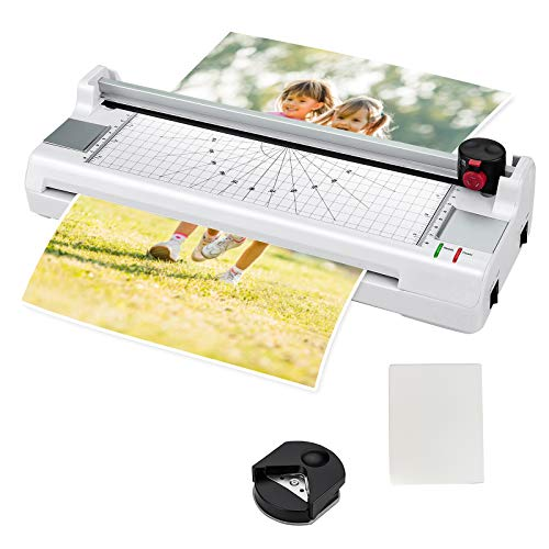Goplus Laminator Machine, A3 Thermal Laminating Machine with 25 Pouches, Paper Trimmer, Corner Rounder, 13 Inches Personal Laminator for Home School Office, Small Hot Cold Lamination Machine