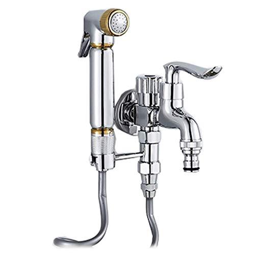 Spuitpistool met dubbele kraan, open, klein bidet-mondstuk, koperdruk, gratis boring, WC, partnerslang, 5-delig badpak, 28 mm x 60 mm x 137 mm