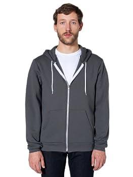 American Apparel Unisex Flex Fleece Zip Hoodie Asphalt Large