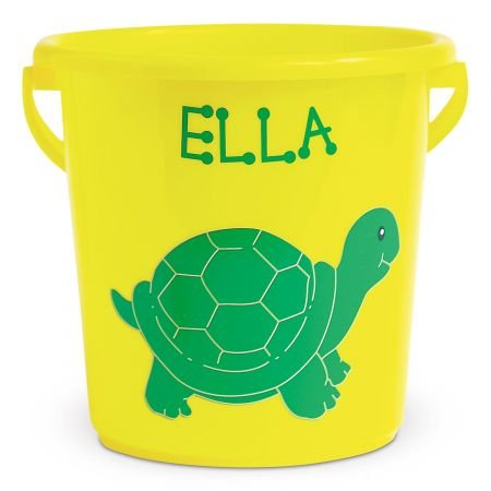 Lillian Vernon Personalized Kids Fun-in-The-Sand Yellow Bucket - Turtle Beach Bucket is 7' H, Great as Easter Basket