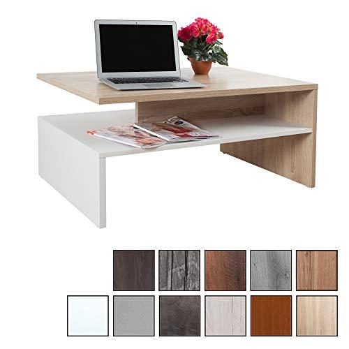RICOO WM080-W-ES, Kleiner Tisch, 90 x 60 x 42 cm, Holz Hell Weiß und Eiche Sonoma Braun, Fernseher TV Wohnzimmer-Tisch, Couch-Tisch mit Stauraum