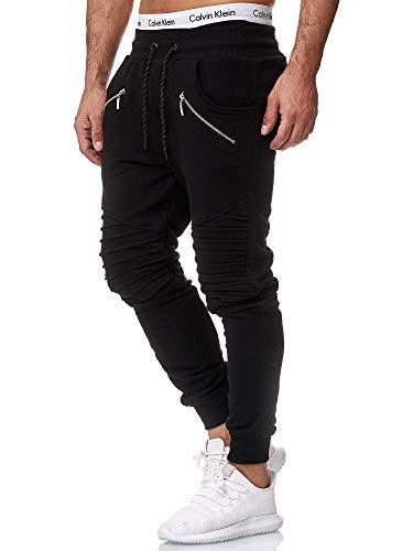 OneRedox Herren Jogging Hose Jogger Streetwear Sporthose Modell 1315 Schwarz L