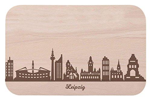 Frühstücksbrettchen Leipzig mit Skyline Gravur - Brotzeitbrett & Geschenk für Leipzig Stadtverliebte & Fans - ideal auch als Souvenir