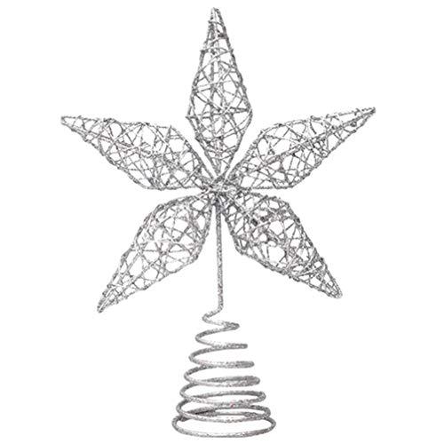 Minkissy Glitter Silver Star Christmas Tree Topper Multi-Pointed Bethlehem Star Treetop Glittering Tree Top for Xmas Tree Decorations Holiday Seasonal Home Decor