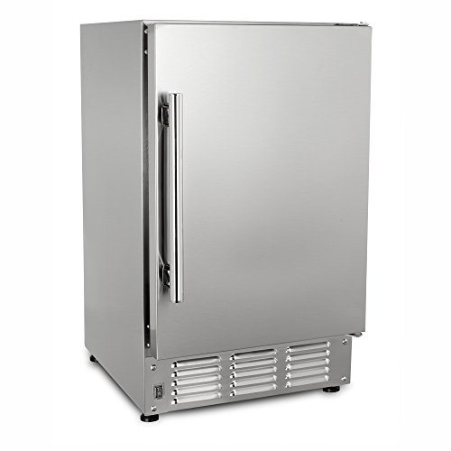 "Maxx Ice MIM25-O 14.6"" 22lb Outdoor and Marine Compact Crescent Ice Maker Stainless Steel Exterior Built-In Undercounter or Countertop, 14.6 Inch Wide, Silver"