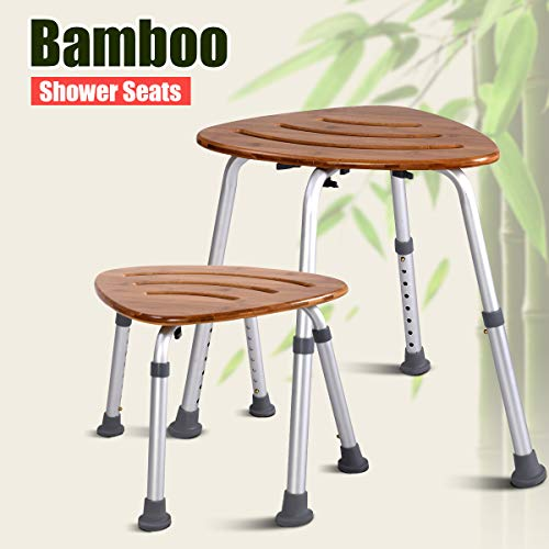 Goplus Bamboo Bath Seat, Waterproof Bathroom Shower Seat,Spa Massage Chair, Triangular Fanshaped with Slip-Resistant Rubber Bathroom Organizer, Weight Capacity: 350 Lbs