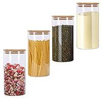 gomaihe 4 pcs barattoli di vetro barattolo cucina, contenitori alimentari con coperchio di a tenuta d'aria bambù, contenitore ermetico per alimenti pasta caffè, vetro borosilicato 1.2l