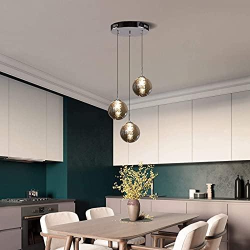 Pendelleuchte Hängelampen Kronleuchter Höhe Verstellbare Treppenlampe Langes Glas Einfache Moderne minimalistische Küche Esstisch Wohnzimmer Schlafzimmer Halle Duplex Villa Warmes Licht (Gra