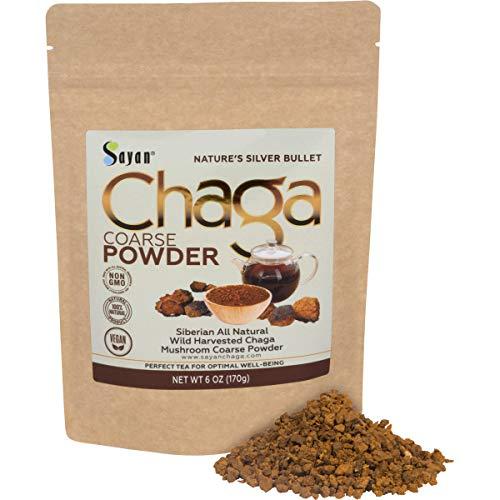 Sayan Siberian Raw Ground Chaga Powder 6 Oz (170g), Wild Forest Mushroom Tea, Powerful Adaptogen Antioxidant Supplement, Support for Immune System, Digestive Health and Helps Inflammation Reduction