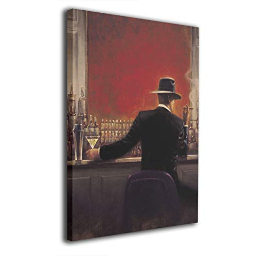 Hobson Reginald Canvas Wall Art Prints Cigar Bar Retro -Picture Paintings Modern Home Decoration Giclee Artwork-Wood Frame Gallery Wrapped 16'x20'