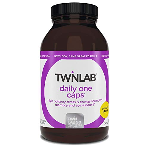 Twinlab Daily One Caps Without Iron - Multivitamin for Stress Relief, Energy, Memory & Eye Health For Women & Men - With Vitamin C, Vitamin D, Zinc, Vitamin A, Vitamin B12- (180 CAPS)