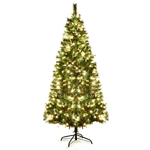Goplus 7 ft Pre-lit Artificial Christmas Tree, Hinged Christmas Tree w/ 350 LED Lights and Metal Stand, Xmas Tree for Indoor Outdoor Holiday Décor