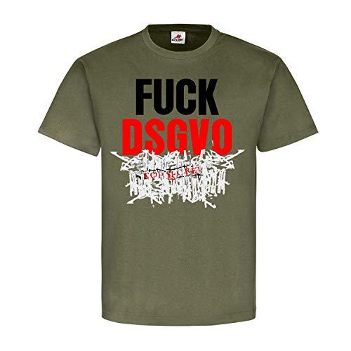 Fuck DSGVO Datenschutz Verordnung Gesetze Schredder Daten Secret T Shirt #25472, Größe:XL, Farbe:Oliv