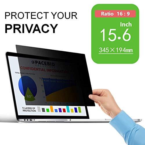 PaceBid Laptop I Notebook Privacy Filter I Blickschutz Folie I Privacy Screen Filter fur 15.6 Zoll Laptop, Anti-Spy Blickschutzfolie - 15.6 Zoll 16:9 Displaye