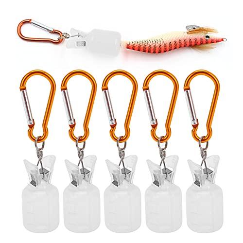 Dilwe 5 Piezas/Set Protector de plástico de Cubierta de Plantilla de Calamar con Tapas de Cubierta de Gancho de camarón de Pesca(Blanco)