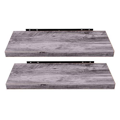 EUGAD 0132QJ-2 Wandregal Wandboard 2er Set Hängeregal Holz Board Modern Grau Holzdeko 40x22,9x3,8cm