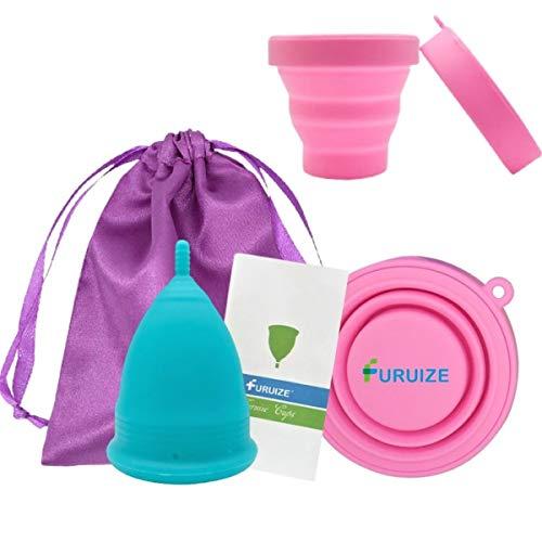 Copa Menstrual Furuize con Taza de Esterilización. Silicona suave de grado médico...