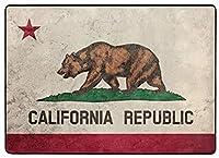 フロアマット 大判,グランジカリフォルニア州旗。カリフォルニア州旗の背景グランジテクスチャ。 新年の部屋の装飾 フローリング/畳/床暖房対応(213×152cm 厚1.5mm)