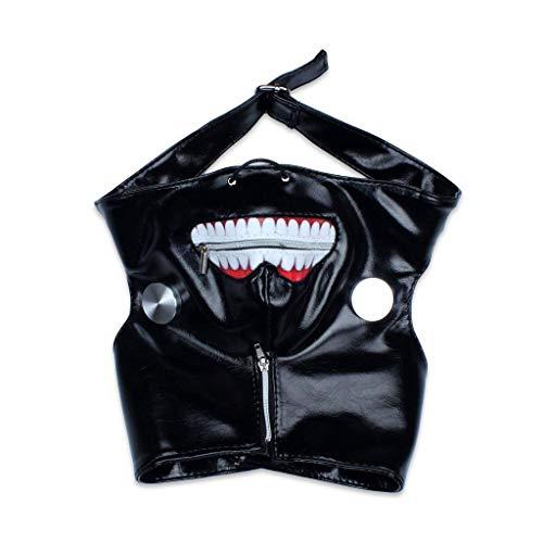 edealing 1PCS Cosplay Tokyo Ghoul Kaneki Ken Einstellbare Reißverschluss PU-Leder-Masken-Halloween-Prop