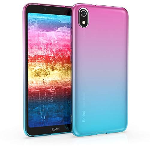 kwmobile Funda Compatible con Xiaomi Redmi 7A - Carcasa de TPU Bicolor - Rosa Fucsia/Azul/Transparente