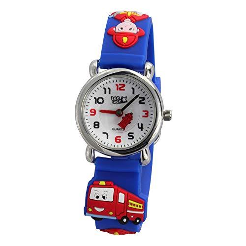Tee-Wee Kinder Uhr 27mm Quarz Analog Feuerwehr Armband blau Kautschuk D1UW953B Quarzuhr von Tee-Wee für Kinder