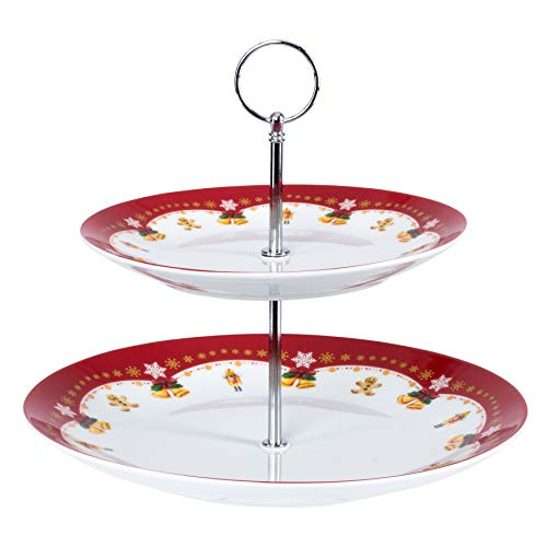 Van Well Etagere Weihnachtszauber | 2-stöckiger Gebäck-Ständer | Servier-Teller für Kekse, Kuchen, Muffin, Donuts & Süßigkeiten | Backwaren-Präsentation