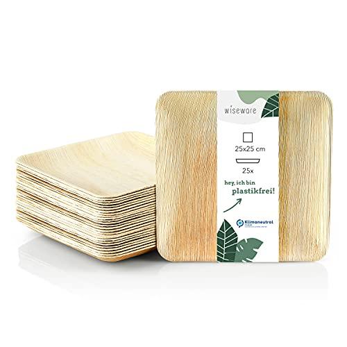 Wiseware - Platos desechables (25 unidades, 25 x 25 cm, platos de hoja de palma biodegradables, platos compostables, platos desechables ecológicos, 25, 25 x 25 cm)
