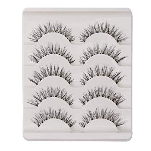 KFZR falsche Wimpern Wimpern natürlichen Look handgemachte Crisscross 3D wiederverwendbar schwarz (5 Paare)