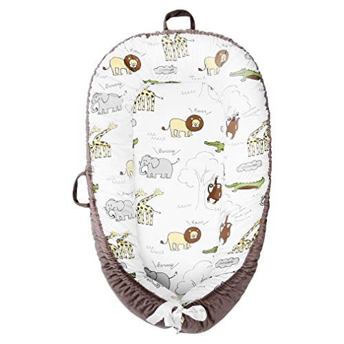 Baby LoungerBaby Nest Super Soft 100% Cotton and Breathable Newborn Lounger Portable Crib Perfect for CoSleeping Zoo