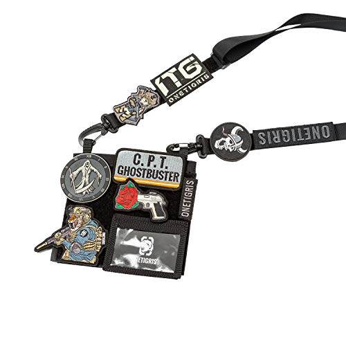 OneTigris Patches Showcase ID Holder Badge with Shoulder Strap 4 in 1 EDC Pouch for Patch Collector & Expo Staff (Black)