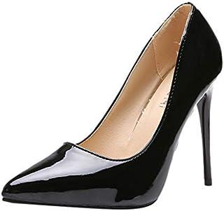 4bd1437582fc4c WORMENG Femme Escarpins, Chaussures Classique - Talon Haut Aiguille Vernis  Sexy Chic Elégant Soirée Travail