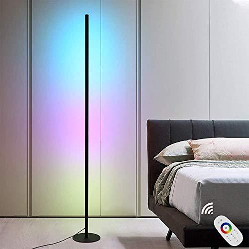 Lámpara de pie de esquina LED moderna, minimalista, RGB, regulable, multicolor, decoración interior con mando a distancia, puede regular, temperatura de color ajustable