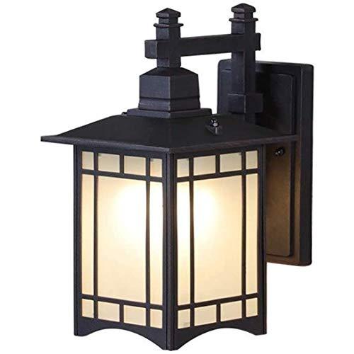 YAMAXUN Lámpara De Pared Retro Impermeable - Caja De Metal Cuadrada Alta Negro Patio Exterior Porche Mission Aplique Linterna De Vidrio Esmerilado De Estilo Japonés